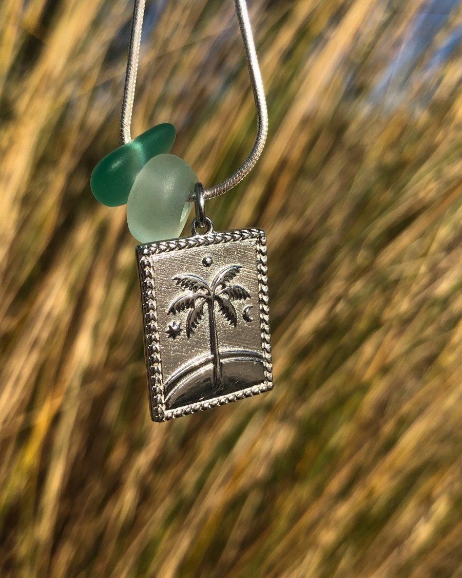 zeeglas zilveren hanger palm duin