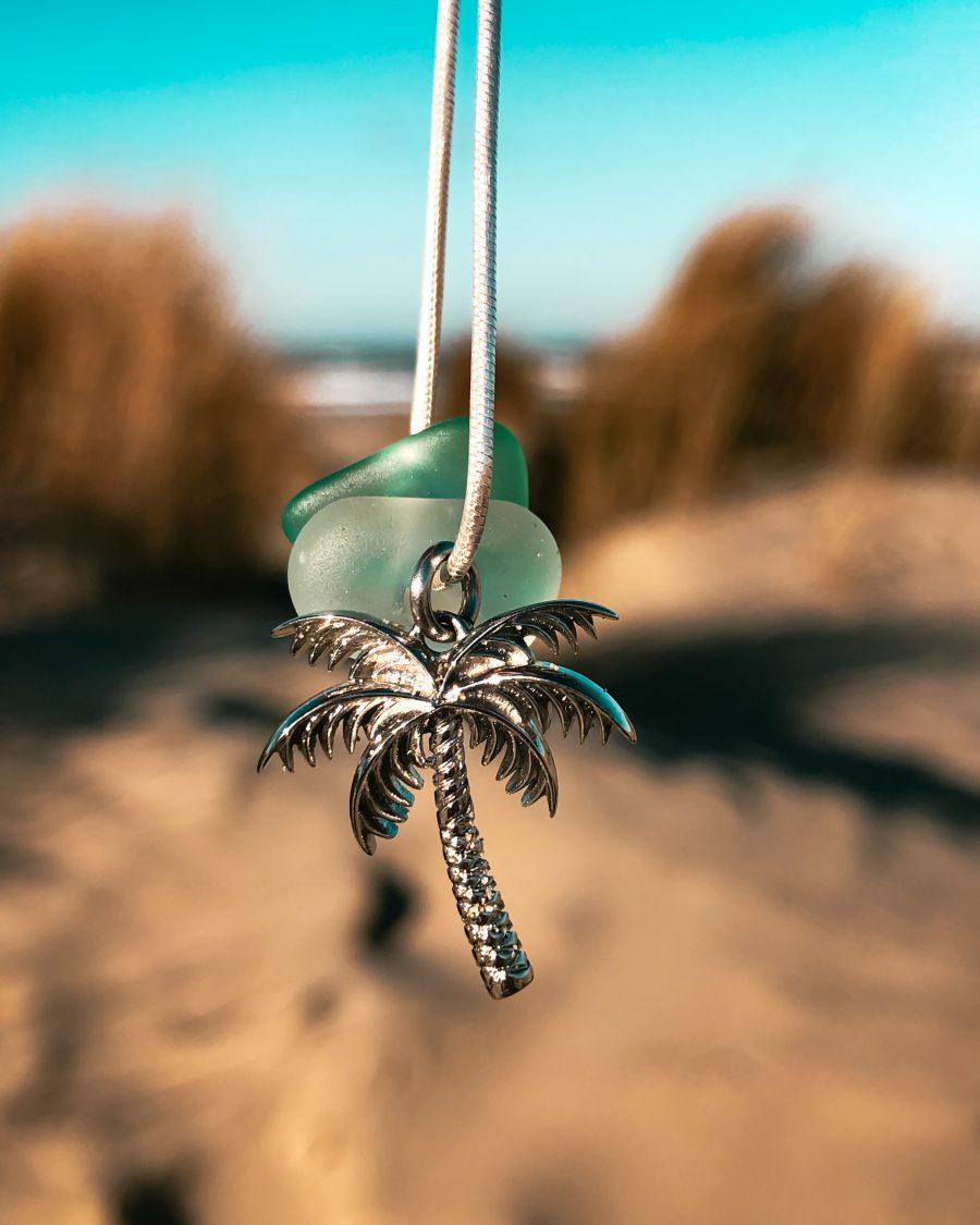 zeeglas palmboom bedel strand