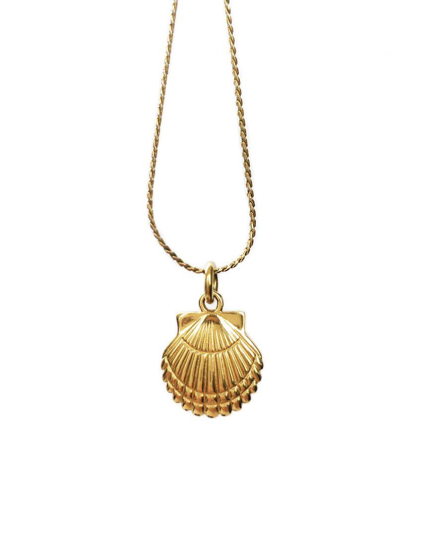 schelp hangertje goud