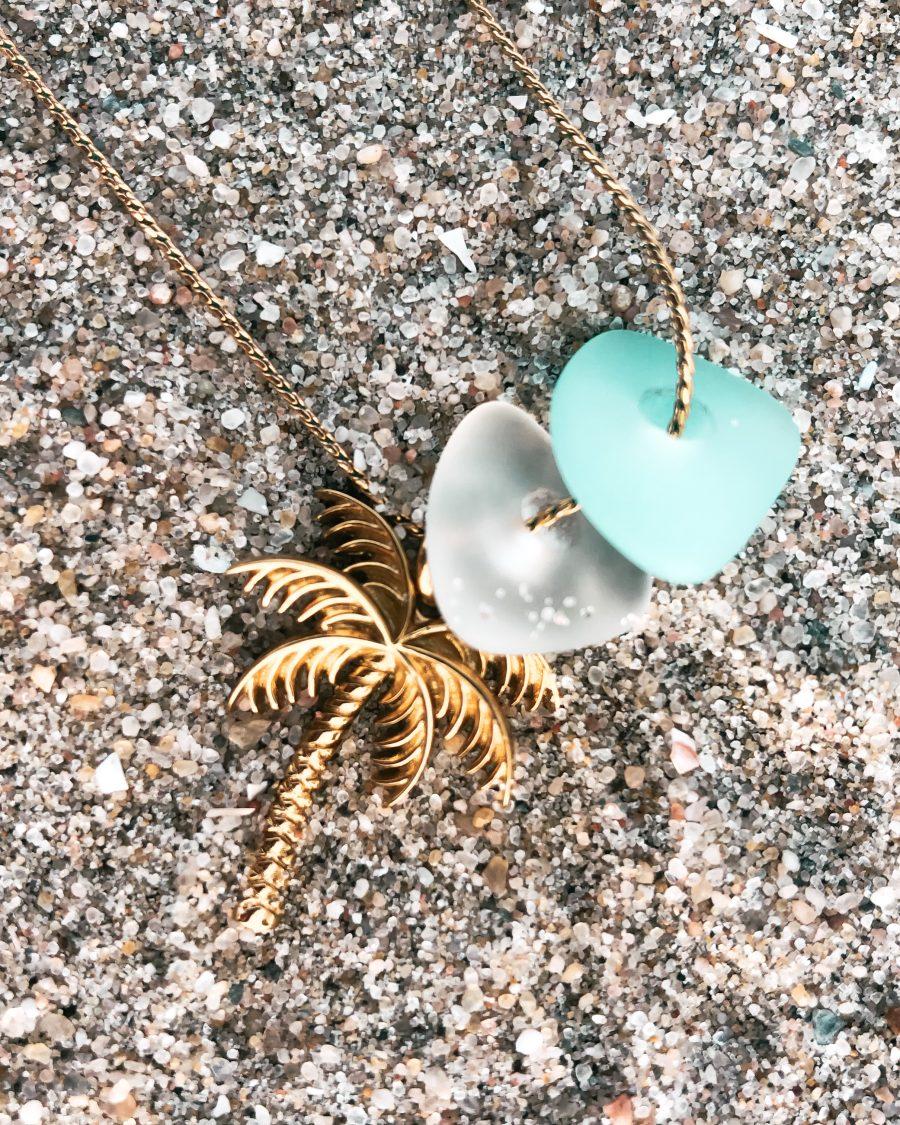 zeeglas met gouden palmboom hanger