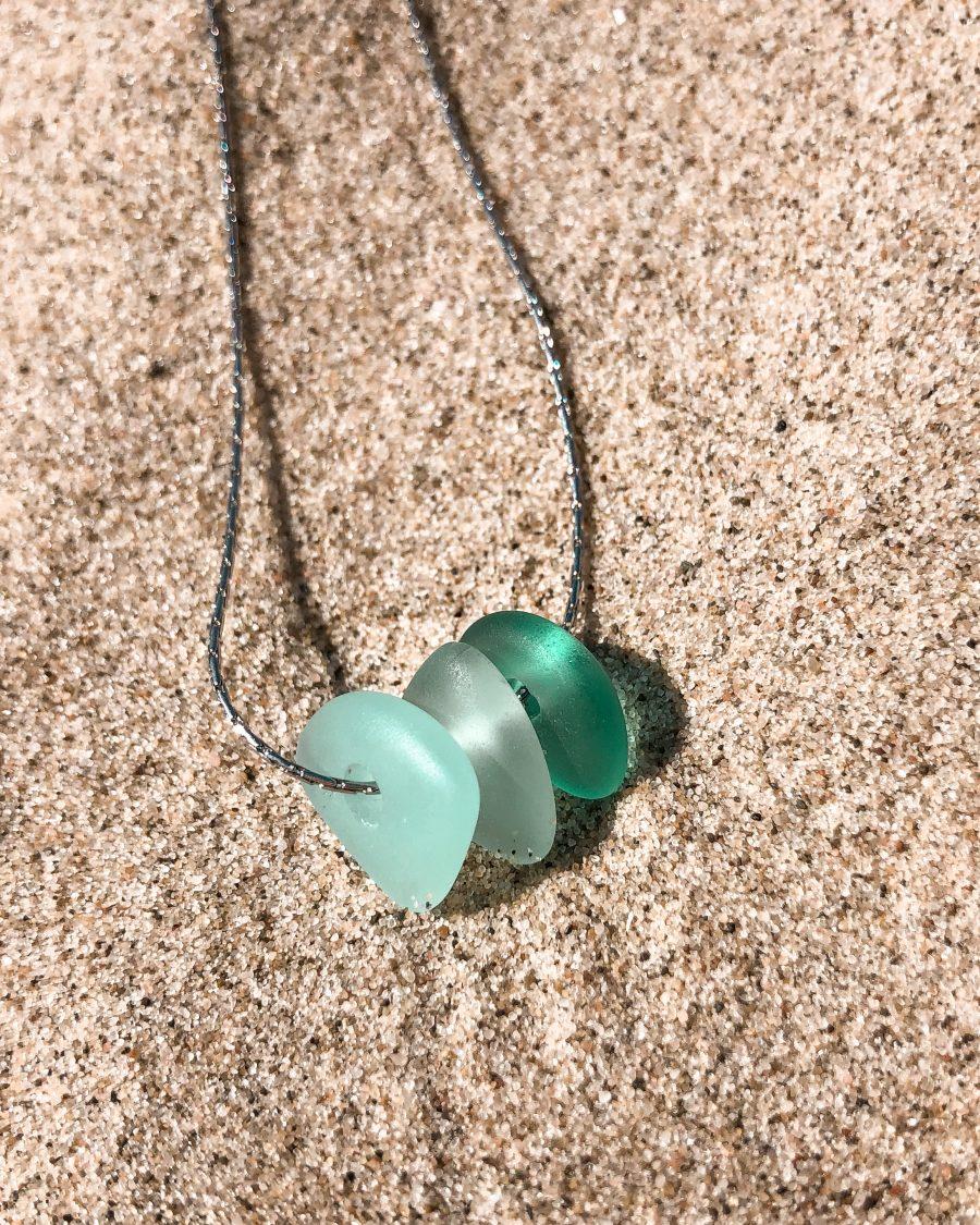 zeeglas-ketting-zilver-driekleur-groen